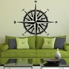 Compass Rose Vinyl Wall/Ceiling Decal - fits nautical living room + more K649