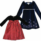 PERFECTLY DRESSED ZOEY Blue Red Velour Butterflies Lace Girl`s Dress * Size 4T 7