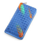 Lady Women Real Leather Weave Braided Cellphone Wallet Zip Clutch Checkbook