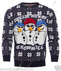 Mens Christmas Jumper Xmas Knitted Snowman Snomies Novelty Sweater New S M L XL