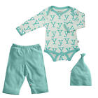 "Baby Soy Neutral 3 Piece Ivory/Turquoise Alphabet ""Y"" Printed  Bodysuit, Pant"