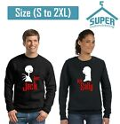 Halloween Jack Sally Couple Funny CREWNECK Sweatshirt Boo Sweatshirt BLACK-BLACK