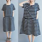 Womens Girl Striped Dress Casual Loose Bubble Skirt Short Sleeve 100% Cotton