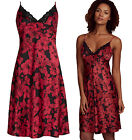 Marks & Spencer Floral Satin Chemise Nightdress New M&S Red Strappy Nightie