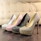 STO Womens Girls Glitter Party Platform Pump Killer High Heels Stiletto Shoes