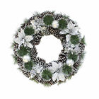 "Artificial Decorative Home Christmas Wreath Silver Baubles Pine Cones 22"" Size"