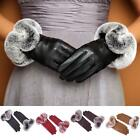 Women Smart 360° Touch Screen Wrist Gloves Genuine Leather Rex Rabbit Fur 4color