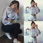 WOMEN SEXY LADIES LONG SLEEVE CASUAL HOODIES HOODED SWEATSHIRT CROP TOPS BLOUSE