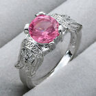 925 Stering Silver Pink Topaz Sapphire Emerald Womens Ring Wedding Jewelry S925
