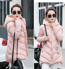 2016 Winter Women's Down Cotton Stand Collar Hooded Coat Quilted Long Jacket