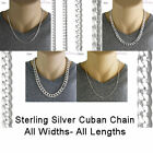 925 Sterling Silver CUBAN Curb Chain Necklace, All Widths - All Lengths, Italy