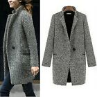 Women Winter Lapel Wool Cashmere  Jacket Coat Trench Long Parka Overcoat Outwear