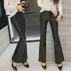 Casual Women's Faux Leather Flared High Waist Pants Fashion Bell-Bottom Trousers