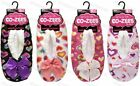 Ladies Love Hearts Ballerina Slippers Sherpa Fleece Lined Gripper Soles 4-7