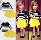 2Pc Kid Girl Striped Long Sleeve Cotton T Shirt Lace Skirt Child Fall Set 2-7T
