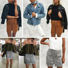 Fashion Ladies High Waist Lace Up Suede Leather Pocket Short A-line Skirt Dress