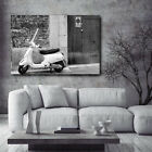 Vespa Scooter Motorcycle by Old Building Canvas Art Poster Print Home Wall Decor