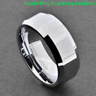 8mm High Polish Pip Cut Beveled Edge Tungsten Band Men's Wedding Ring image