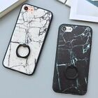 Simple Granite Marble Ring Holder Stand Hybird Case Cover for iPhone 6/6S/7 Plus