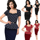 Womens Vintage Retro Peplum Cocktail Party Bodycon Business Sheath Pencil Dress
