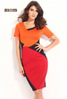 Women Short Sleeve Color Block Vintage Casual Work Sexy Club Party Dress M,L
