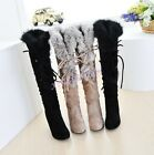 Womens Riding Faux Suede Fur Trim High Heels Winter Knee High Boots Shoes 4-10.5