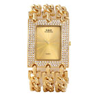 New Women Lady Crystal Gold Stainless Steel Bangle Bracelet Quartz Wrist Watch