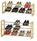 2 or 3 Tier Extendable Pine Wood Chrome Plated Tube Shoe Rack Stand Organiser