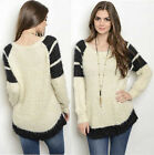 Cream Black Colorblock Cozy Pullover Round neck Long sleeves Knit Top Sweater