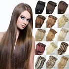 Full head set clip in human hair extension Hot Black brown blonde  14-30inch