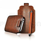 QUALITY LEATHER PULL TAB CASE COVER SOCK & STYLUS PEN FOR VARIOUS PHONES