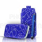 PREMIUM DIAMOND BLING LEATHER PULL TAB CASE COVER & STYLUS FOR VARIOUSE PHONES