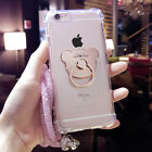 Cute Metal Bear Ring Holder Stand Strap Clear Rugged Case Cover for Cell Phones