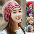 Women's Winter Flower Knit Crochet Slouch Baggy Beanie Hat Crochet Ski Cap Beret