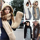 new Womens Winter Warm Faux Fleece Soft Fur Hooded Hood Scarf Hat Gloves