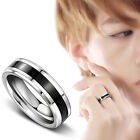 Jewelry Black Titanium Band Stainless Steel Ring For Men Women Size16-22 HF
