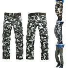 Men's cotton Loose straight Multi Pockets trousers outdoor Militery Long pants