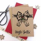 6/10 Luxury kraft christmas cards GIN GLE BELLS GIN LOVERS & envelopes