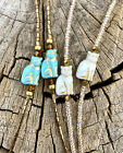 Czech Cat Beaded Eyeglass Chain Turquoise White Beads Lanyard Holder Necklace