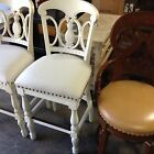 """Frontgate Pineapple Wood Barstool Counter Chair linen fabric BAR Stool white 30"""""""