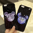 Cute Black Mickey Mouse Earth Planet Soft Back Case Cover for iPhone 6/6S/7 Plus