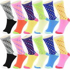 Lot 12 Pairs Cotton Womens Girl Argyle Stripe School Casual Crew Socks Size 9-11
