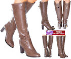NEW WOMENS LADIES BOOTS CHUNKY HIGH HEEL WINTER STRETCH CHAIN DETAIL LONG SHOES