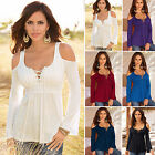 Colors Women Ladies Long Sleeve Tops Blouse Off Shoulder Casual Autumn T-shirt