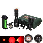 5000LM Q5 Red Zoomable LED Tactical Flashlight Torch 18650 Lamp Remote Switch