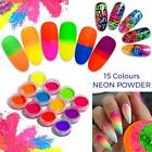 14 COLOURS NEON PIGMENT NAILS POWDER DUST OMBRE PHOSPHOR FLUORESCENT GLOWING UK