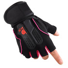 Leather Gym Weight Lifting Fitness Training Gloves Exercise Long Wrist Strap