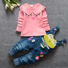 Cute Newborn Kids Baby Girls T-shirt Tops+Denim Pants Outfits Clothes Set 2pcs