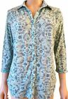 New Ex Per Una M&S Ladies Green Floral Casual Top Size 10 - 16 3/4 Sleeve