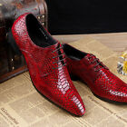 Fashion Men Business Leather Black Red Pointy Toe Lace up Formal Dress Shoes HOT